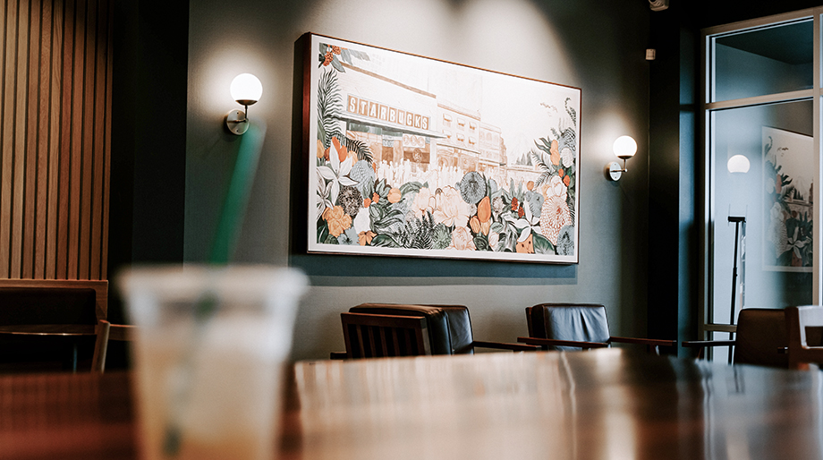 Boardroom with a painting in the background